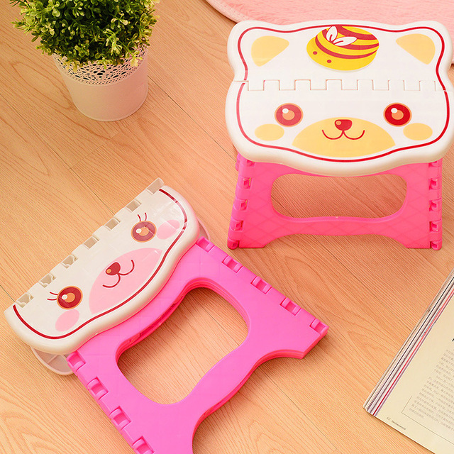 H Cute Portable Plastic Stools Thicken Step Folding Child Stools Plastic Folding Chairs Kids Stools Pink Blue 1