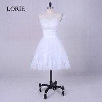Simple White Short Wedding Dress 2018 Robe de mariee Vintage Lace Appliques Elegant Bridal Dresses Pearls Top China Custom Made