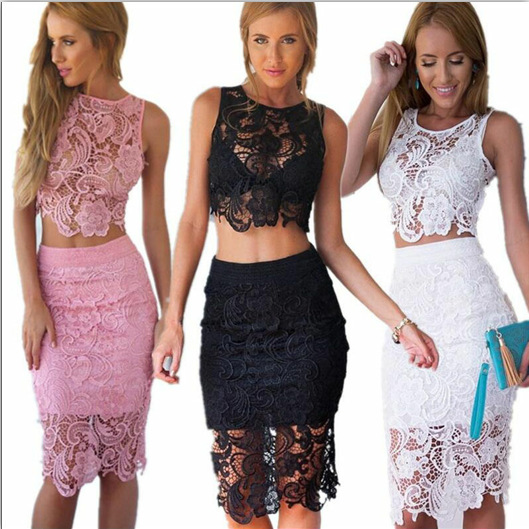 Lace Sexy Women Two Piece Outfits Flower Hallow Vest Top And Skirt Women Matching Set Solid White Black Pink Outfit Party Night