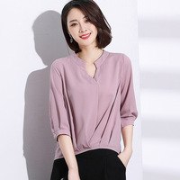 Spring Summer Three Quarter Sleeve V Neck Pleated Waist Women Chiffon Shirt Blouse Pullover Lotus Pink