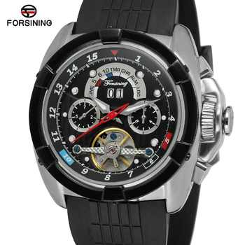 Forsining Tourbillon Mens Watch Brand Luxury Sport Automatic Watch Men's Automatic Self-winding Calendar Brand Leather Strap - DISCOUNT ITEM  16% OFF All Category