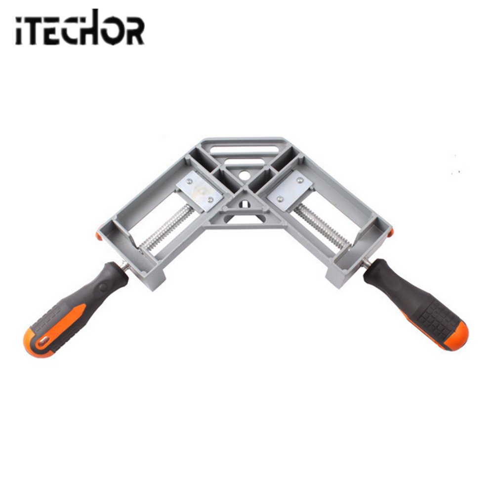 iTECHOR Double Handle 90 Degree Right Angle Clamp for Woodworking Angle Fish Tank - Grey ninth world new single handlealuminum 90 degree right angle clamp angle clamp woodworking frame clip right angle folder tool