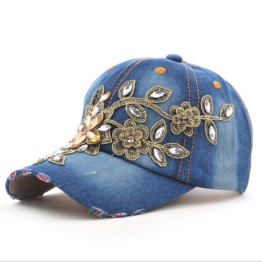 2017 fashion full crystal floral sport outdoor denim baseball cap bling rhinestone hip hop. Black Bedroom Furniture Sets. Home Design Ideas