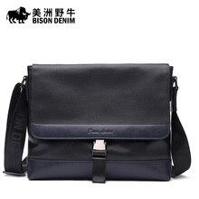 Hot Brand BISON DENIM Genuine Leather Handbag Men Messenger Bag Casual Satchel Business Travel Crossbody Bag Men's Shoulder Bags