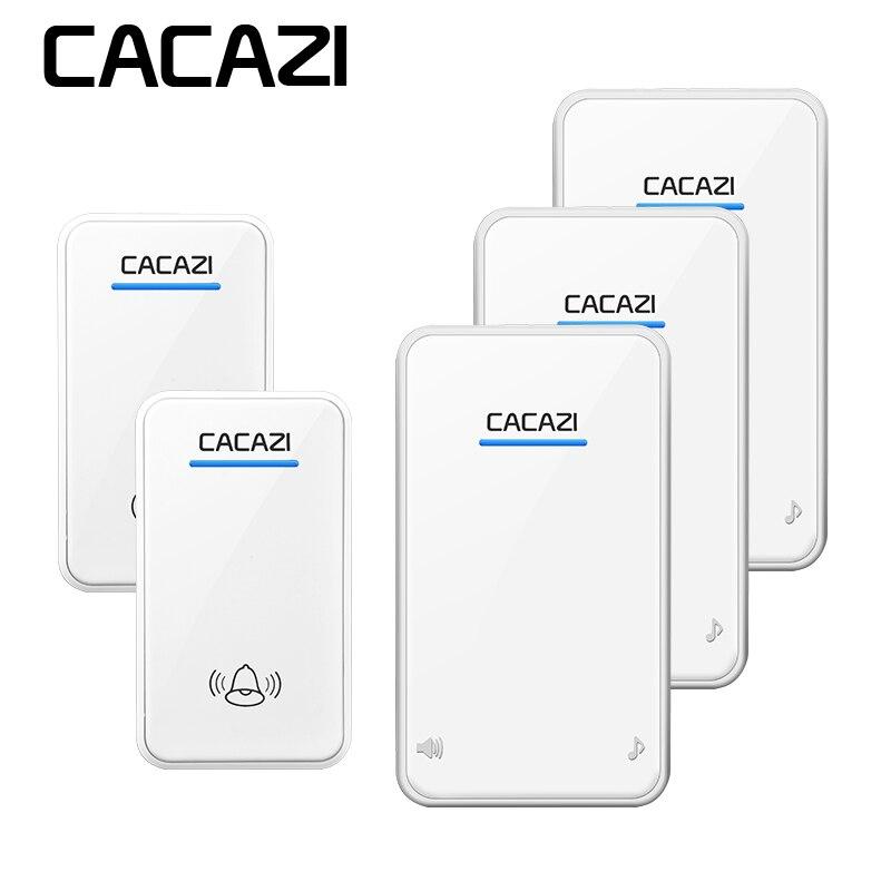 CACAZI wireless doorbell 2 waterproof buttons+3 EU plug-in receivers 300M remote draadloze deurbel door ring sonnette sans fil
