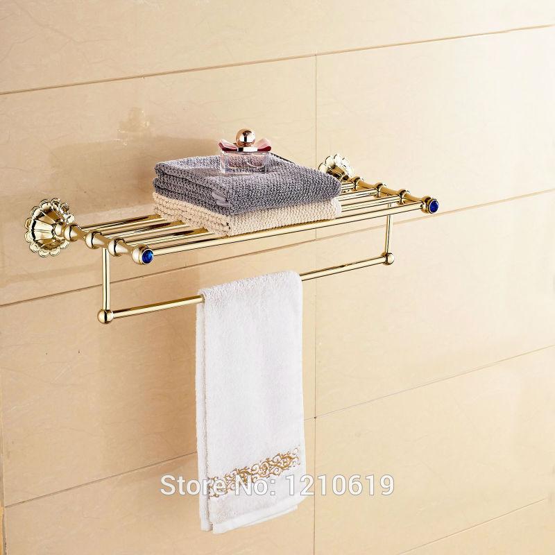 Newly Euro Style Bath Towel Holder w/ Towel Bar Gold Plate Crystal Towel Rack Shelf Wall Mounted gold finish bath wall mounted storage shelf cosmetic rack with towel bar