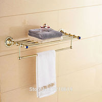 Newly Euro Style Bath Towel Holder W Towel Bar Gold Plate Crystal Towel Rack Shelf Wall