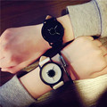 2016 Amantes Da Moda Das Mulheres Dos Homens de Couro Macio Cinta Banda Quartzo Analógico Relógio de Pulso para As Mulheres Senhoras relógio Amantes Preto Branco