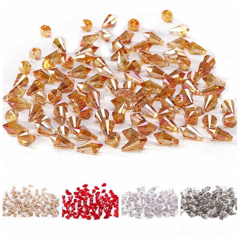 NEW Triangle Cone Crystal Beads AB 10pcs 6*12mm Austria Crystal Triangle Cone Loose Beads for Jewelry Making Crafts Curtain C-6