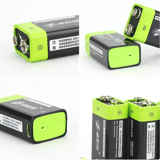 2pcs ZNTER 9V 400mAh lithium li-po li-ion rechargeable battery + micro usb cable for charging