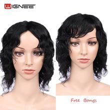 Wignee 6 Inch Short Hair Natural Wave Human Wig With Free Bangs High Density 150% Bob Indian Human Hair Wig for African American стоимость