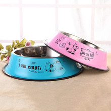 Pet stainless steel dog bowl color printed cartoon bowl size cat pet single bowl stainless steel dog bowl silver size l 1000ml