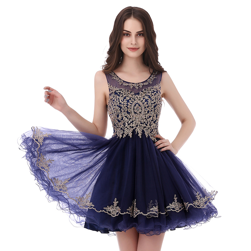 Navy Blue Short Prom Dresses Sheer O Neck Embroidery Above Knee ... a7c490cc61a3