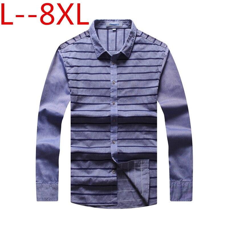 10XL 8XL 6XL 5XL hommes chemise printemps affaires hommes coupe ample robe chemise homme manches décontracté rayé Camisa Masculina