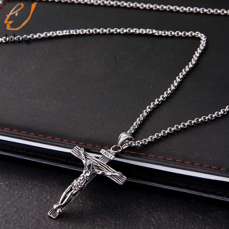 Men Chain Christian Jewelry Gifts Vintage  Cross INRI Crucifix Jesus Piece Pendant & Necklace Gold Color Stainless Steel