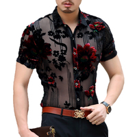 Mens floral shirts summer new arrival 2017 sexy see through male dress short sleeve transparent floral dress shirts for man