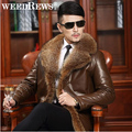 Brand Men's Double-faced Fur Coat With Natural Raccoon Fur Collar Genuine Sheepskin Leather Jacket Super Warm Leather Clothing