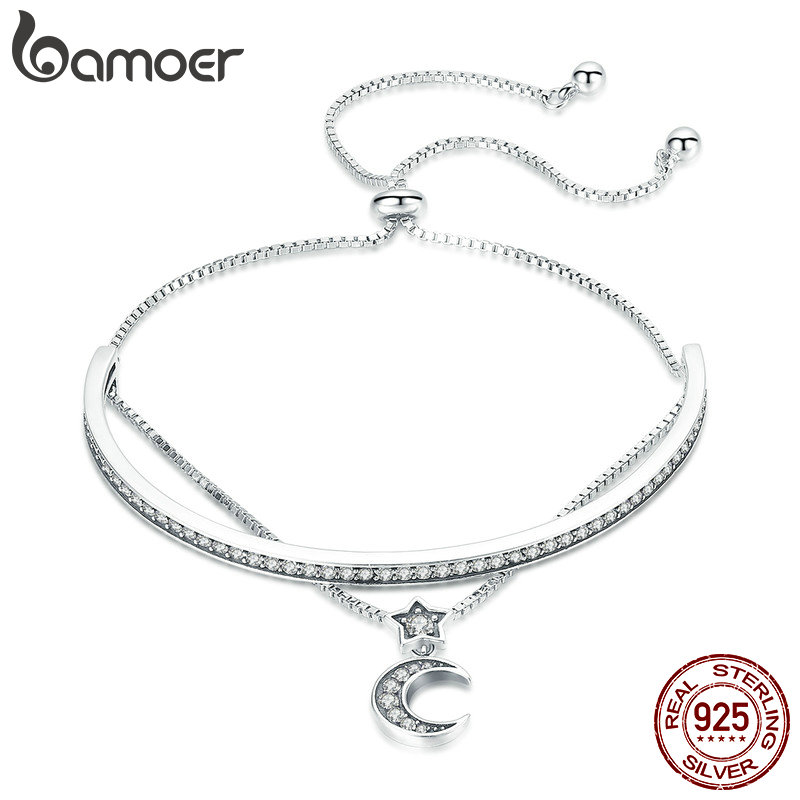 BAMOER High Quality 925 Sterling Silver Double Layers Moon Clear CZ Bangles Bracelets for Women Sterling Silver Jewelry SCB109 925 sterling silver bracelets for women moon and star cz crystal bracelets
