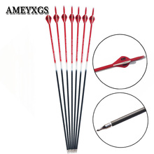 6/12pcs Spine 500 Carbon Arrow Replaceable arrowhead Shaft With Rubber Fearther Shooting Sports Bow And Accessories