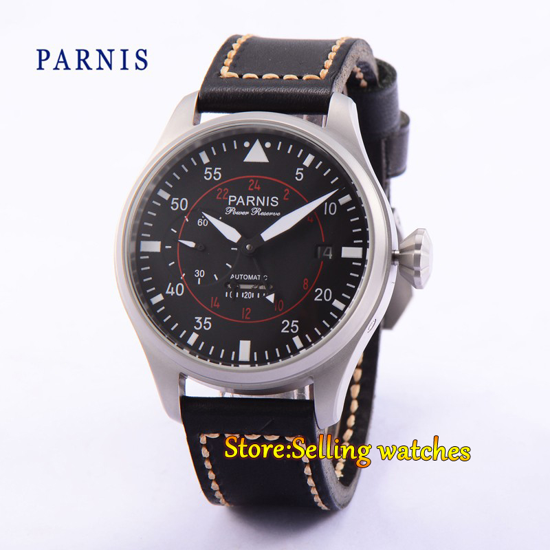 47mm Parnis Black Dial Sandblast Case Power Reserve Automatic Men's Watch 47mm parnis power reserve brushed case yellow numbers automatic men