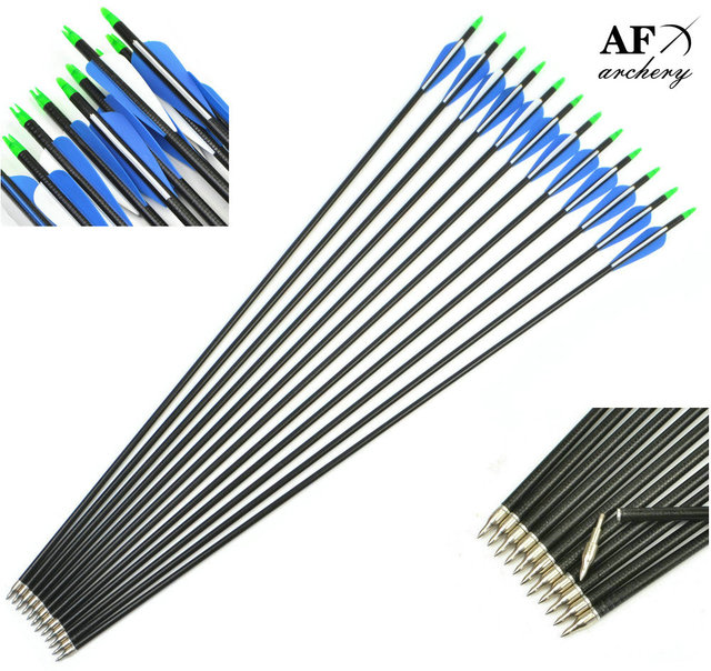 """12pcs/lot Mix Carbon Arrow 31.5"""" O.D. 8mm Spine 500 for Recurve Bow Compound Bow Long Bow Hunting/Archery Hunting Accessories"""