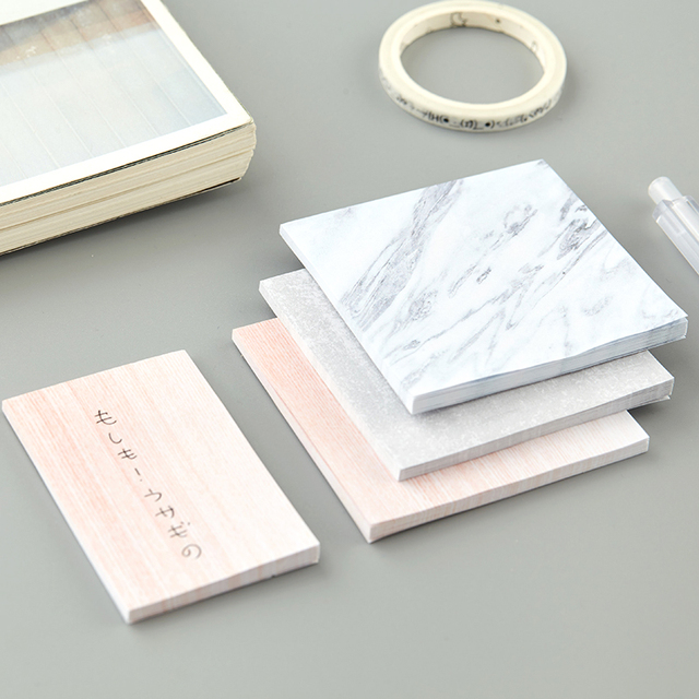 Marble Color Self-Adhesive Office Memo Pads 2 pcs Set