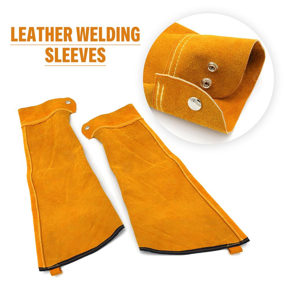 Heat Resistant Welding Sleeves Spark Resistant Protection Leather Sleeves For Welding