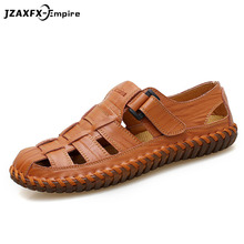 Cow Leather Men Rome Sandals Black Brown Hand Sewing Summer Shoes Breathable Beach Casual