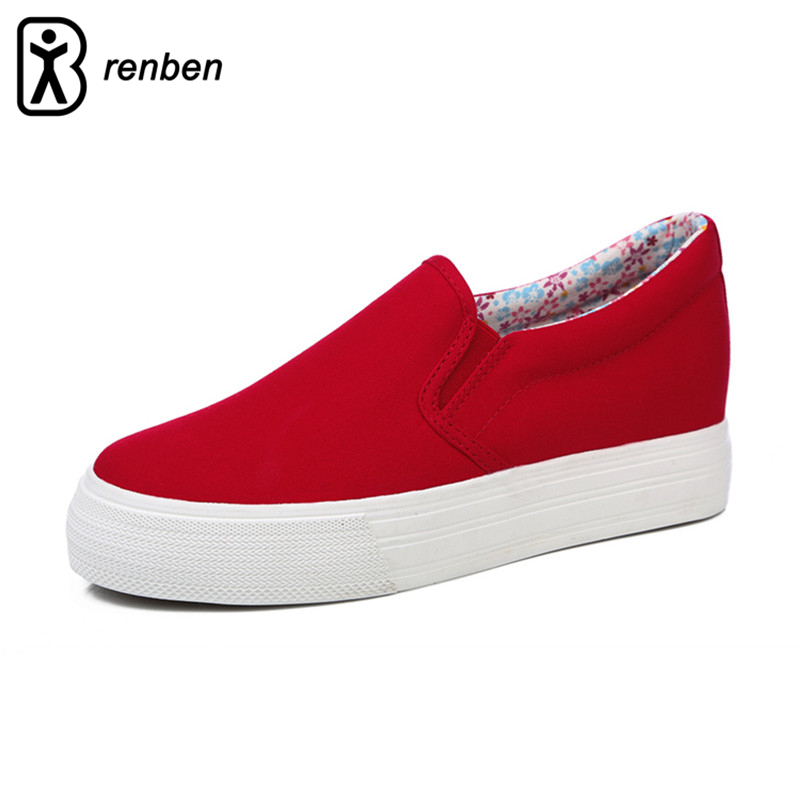 RenBen Canvas Platform Casual Shoes Women Red Fashion High Wedge Breathable Pink Pump Female Shoes Ladies Durable Footwear fashion embroidery flat platform shoes women casual shoes female soft breathable walking cute students canvas shoes tufli tenis