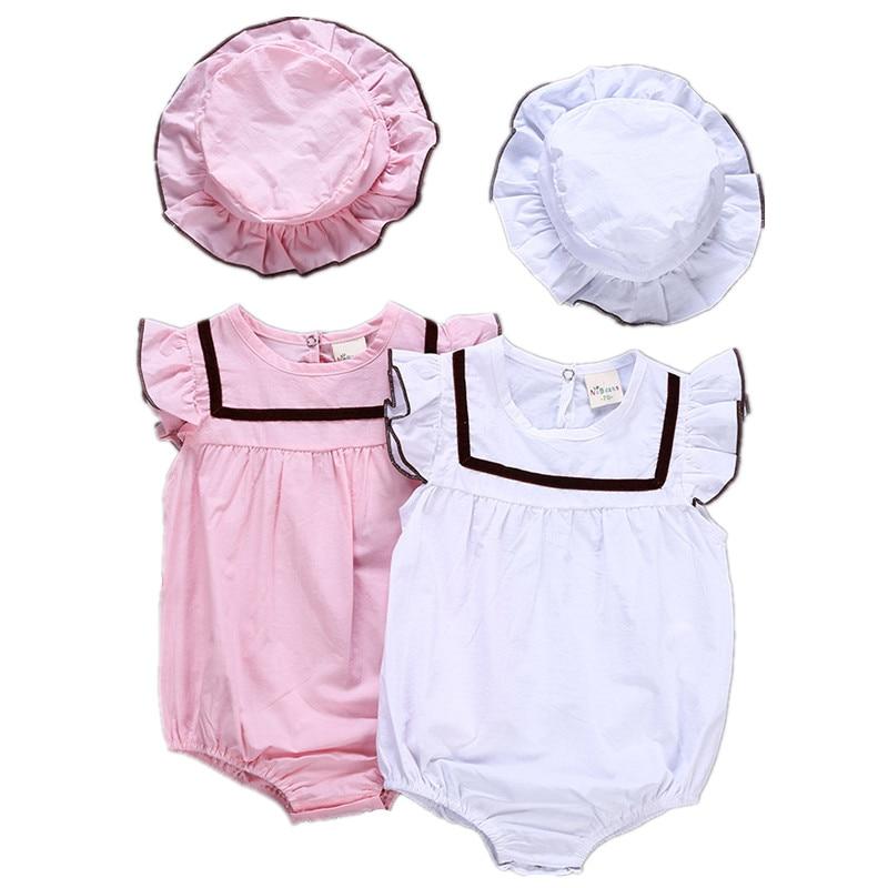 2018 Summer baby bodysuit fashion girls cotton climbing clothes infant cotton jumpers +hat 2pcs bodysuit white pink 18M06
