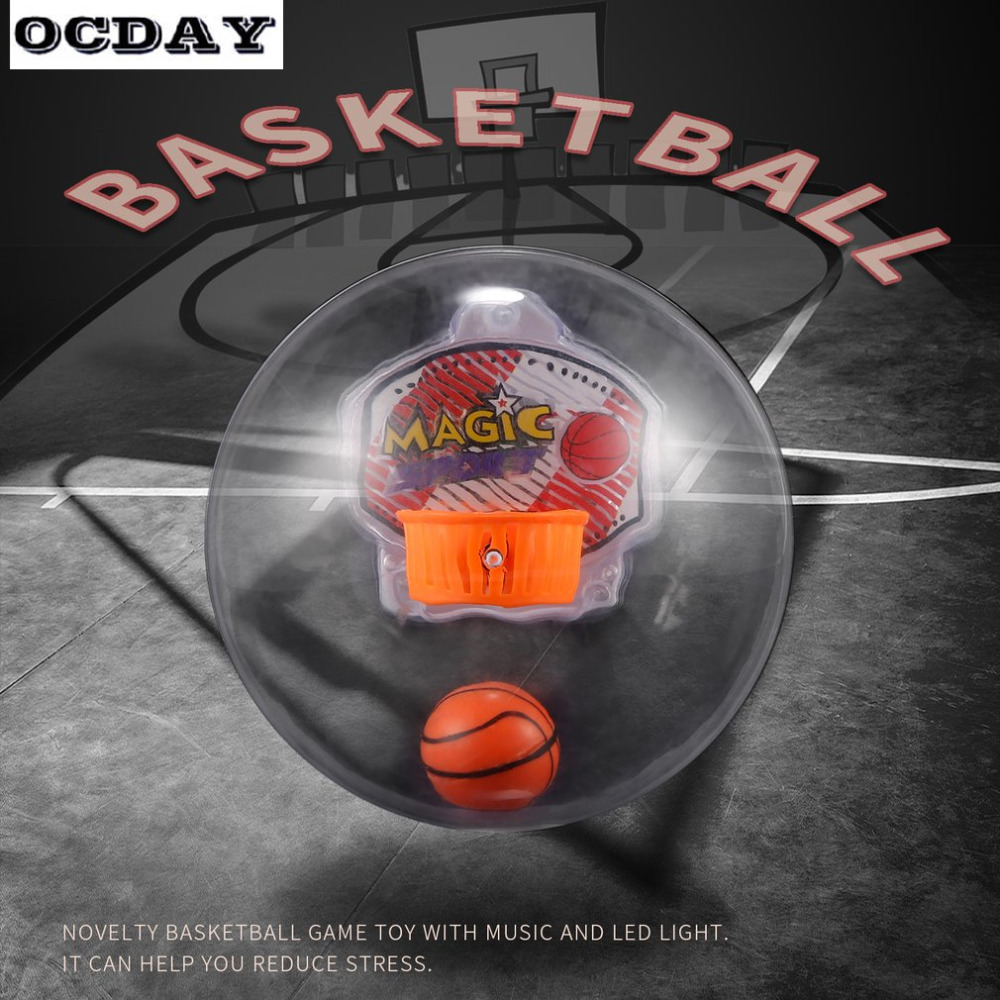 OCDAY LED Fidget Basketball Toys for Children Adult Basketball Game Anxiety Stress Shooting Toy Light Music Handheld Basketball