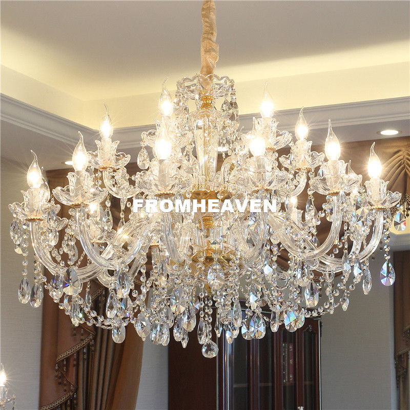 Free Shipping Crystal Chandelier Living Room K9 Crystal Chandelier Clear Hanging Lights Fixture Wedding Decoration Pendant Lamp