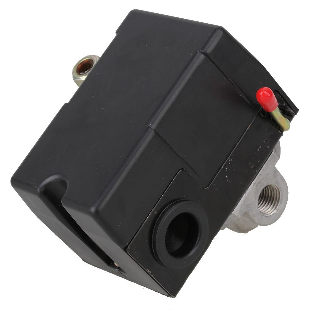 80-115 PSI 4-Port Adjustable Pressure Switch Control Valve for Air Compressor Red On/Off Lever vertical type replacement part 1 port spdt air compressor pump pressure on off knob switch control valve 80 115 psi ac220 240v