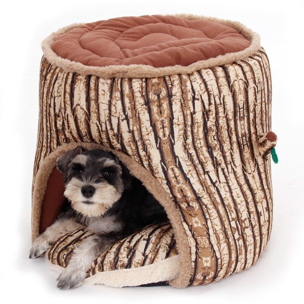 Neue Stil Baumstumpf Haustier Bett Weichen, Warmen Hund Katze haus Gemütlich Nest Puppy Verschiffen Frei Haustier Produkt großhändler