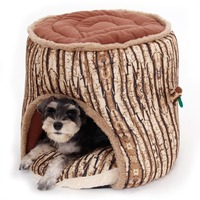 New Style Tree Stump Pet Bed Soft Warm Dog Cat House Cozy Nest Puppy High Quality Free Shipping Pet Product Wholesalers