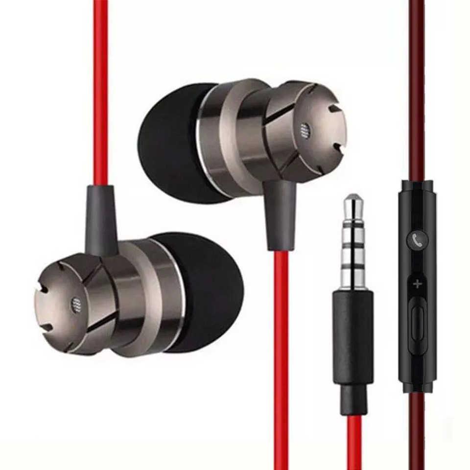 Słuchawka sportowa Metal Bass dźwięk 3.5mm przewodowe słuchawki douszne telefonów muzyki w ucho słuchawki z mikrofonem do komputera telefonu odtwarzacz Xiaomi