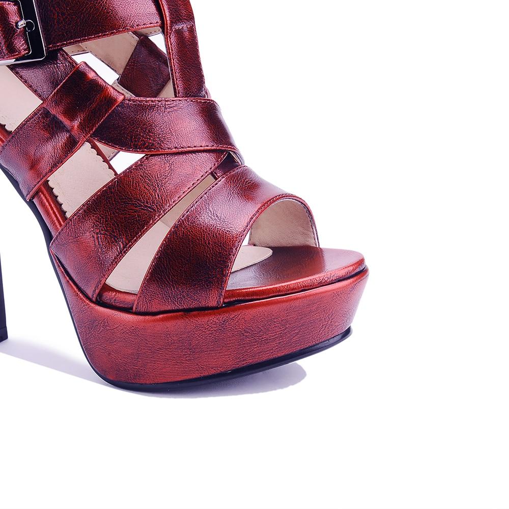 NEMAONE female waterproof table buckle peep toe high-heeled sandals green womens shoes