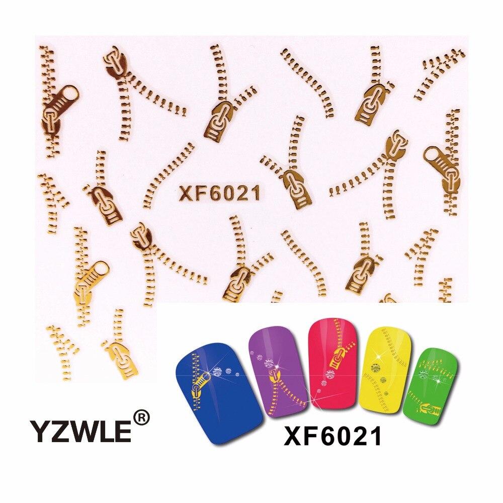 2 Sheets Fashion 3D DIY Gold&Silver Zipper Design Nail Art Sticker&Decal Manicure Nail Tools (HNR-XF6045&6021 D) orange lily flowers nail art transfer foils nail sticker decal tip decoration diy manicure tools 439