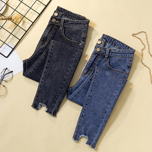 New Ripped Holes Hem Women Jeans Female Denim Pants Stretch