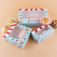 100 pcs Paper box windows kids birthday circus cake kraft gift paper packaging for food baking sweet candy cookies supplier