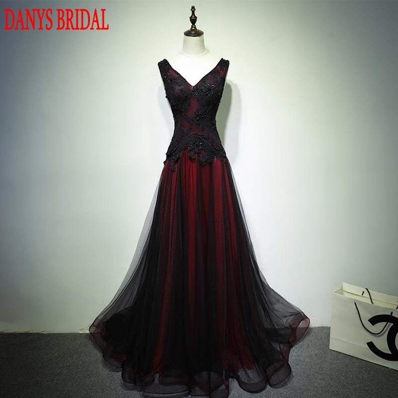 Czarne i czerwone długie koronkowe suknie wieczorowe party 2017 kobiety zroszony line prom formalne suknie wieczorowe sukienki nosić abendkleider