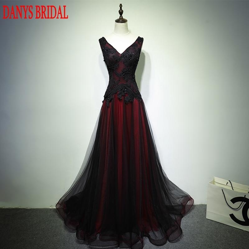 Zwart en rood lange kant avondjurken partij 2017 vrouwen kralen een lijn prom formele avondjurken jurken dragen abendkleider