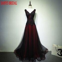 Negro y rojo largo de encaje vestidos de noche de fiesta de talla grande 2019 mujeres con cuentas de una línea de baile Formal Vestidos de Noche vestidos de vestir