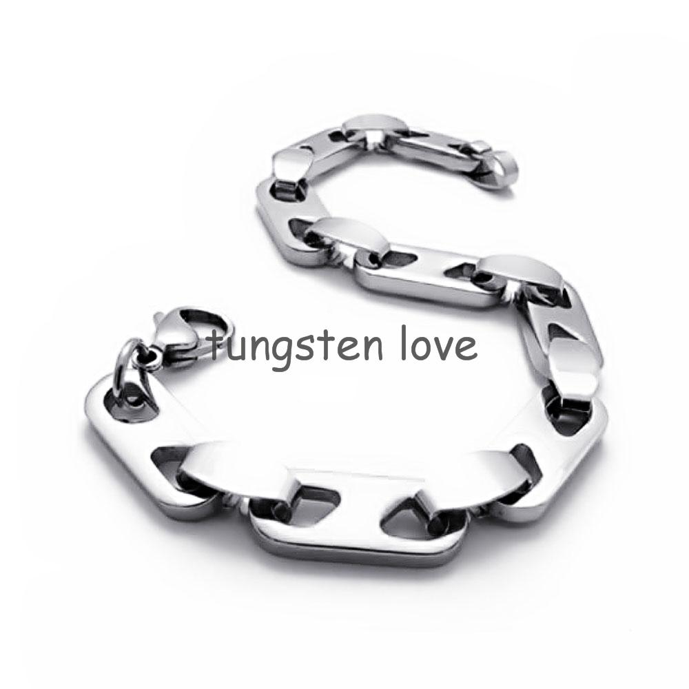216cm Silver Tone Mens Polished Stainless Steel Bracelet Chain Link For  Boys Male Bracelets &