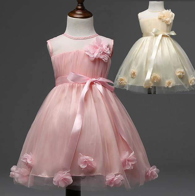 ФОТО  Girls Summer Dress Flower DressesParty Ball Gown Pink Princess Dresses Children Baby Clothing Kids