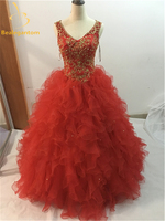 2018 New Hot Sexy Beading Embroidery Red Quinceanera Dresses Ball Gowns Party Gowns Dress For 15 Years Vestido De 15 Anos QA509