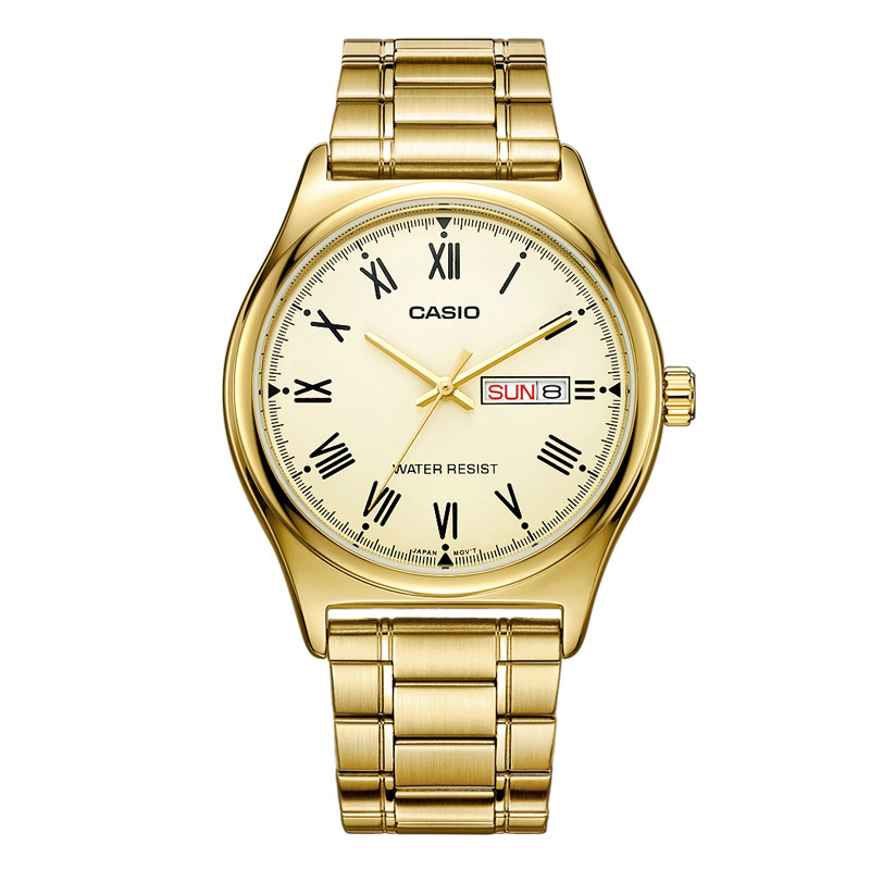 все цены на Casio Watch Men Hot Sale Fashion and Business Quartz Gold Wrist Watches MTP-V006 Stainless Steel Band Relogio Casio Masculino онлайн