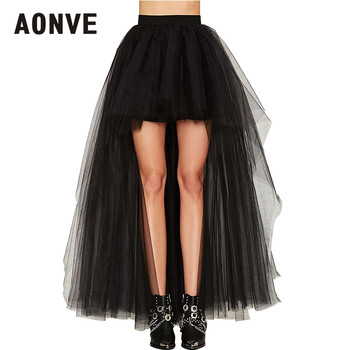 AONVE Black Gothic Skirt Women Sexy Long Maxi Skirt High Wasit Tulle Mesh Adult Tutu Jupe Femme Summer Fluffy Skirt Plus Size darkinlove women gothic skirt butterfly embroideried high waisted sexy lace hem maxi dovetail wrap party skirt