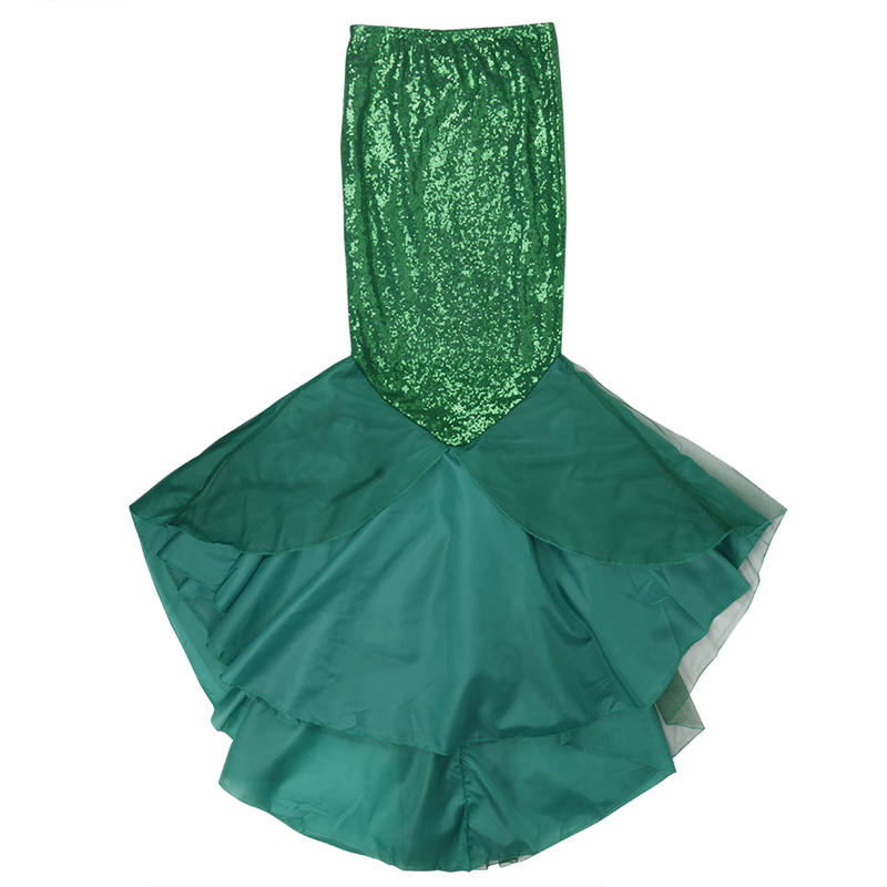 Image 3 - YiZYiF Sequined Mermaid Skirt Halloween Cosplay Mermaid Costume Maxi Skirt Anime Little Mermaid Ariel long green Skirt Women-in Movie & TV costumes from Novelty & Special Use