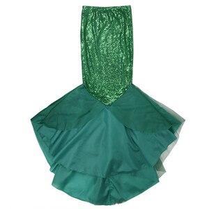 Image 3 - Женская юбка Русалка с блестками YiZYiF, Длинная зеленая юбка макси для косплея на Хэллоуин